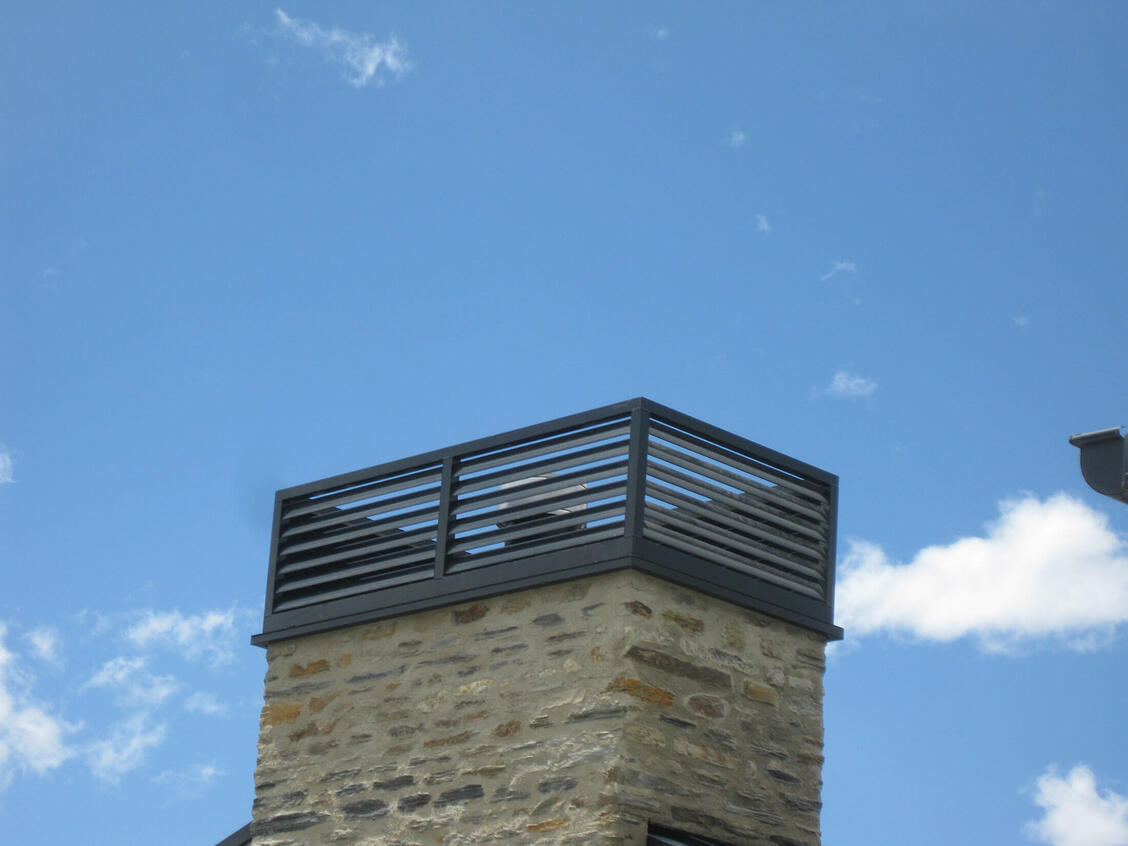 Custom louvre chimney cowl by Aurae