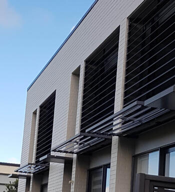 Fixed louvre blades and canopies - Stonefields Special Housing Development