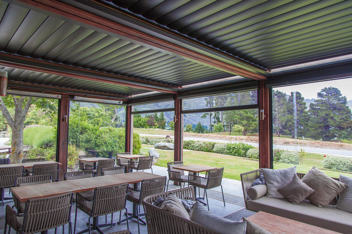 Outdoor room with louvre roof, blinds and heaters - Golfcourse Road