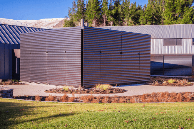 Motorised louvres used to conceal a room