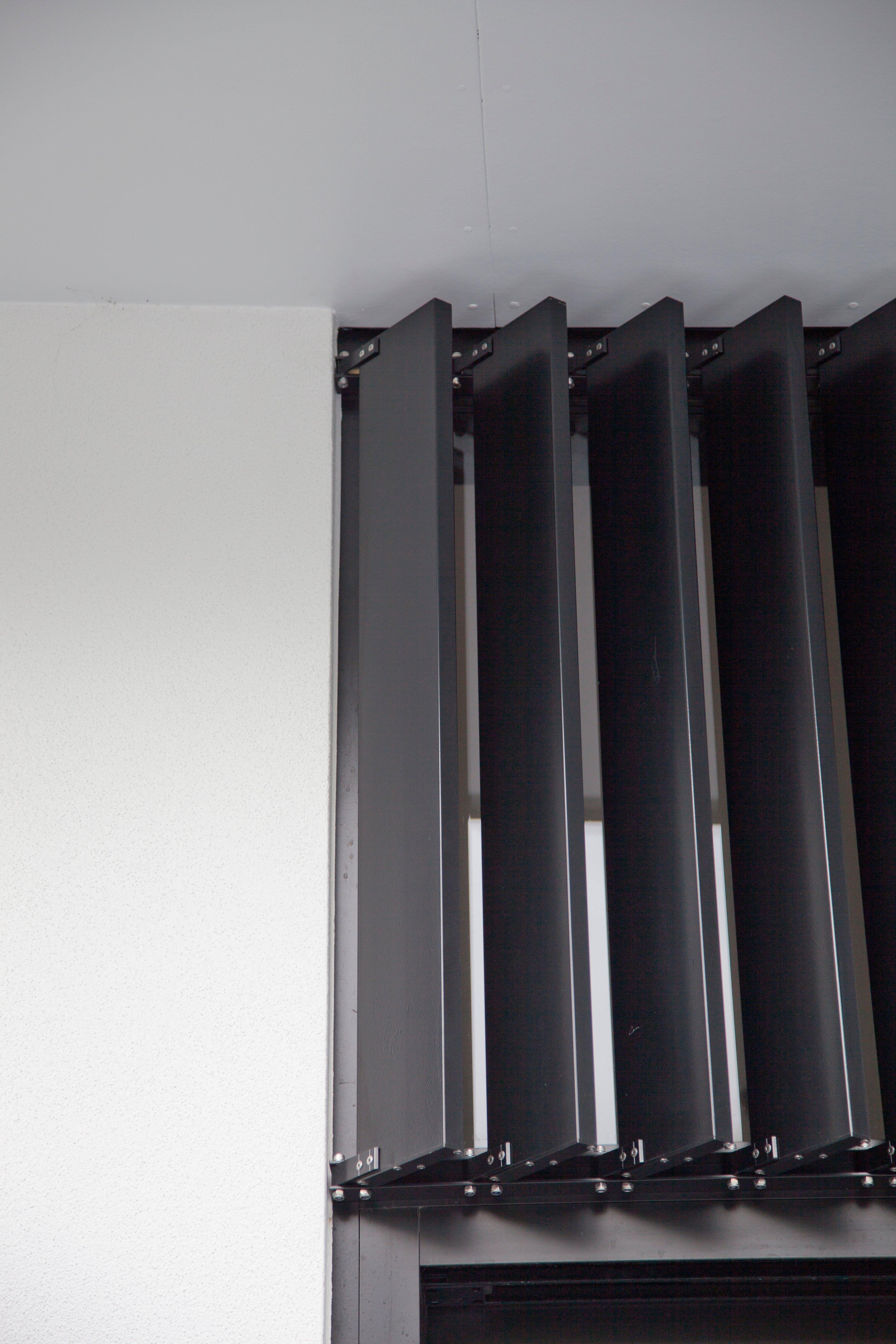 Black powder-coated louvre blades