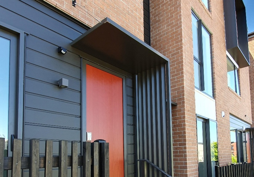 Aurae entrance canopy and fixed louvres