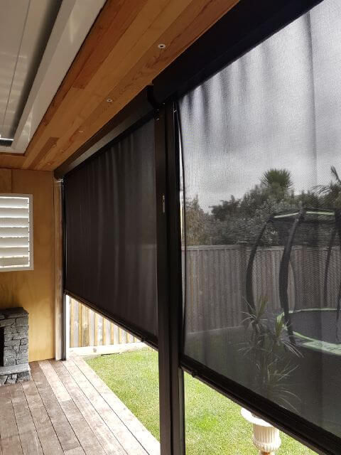 Roller blinds used to close off an outdoor room