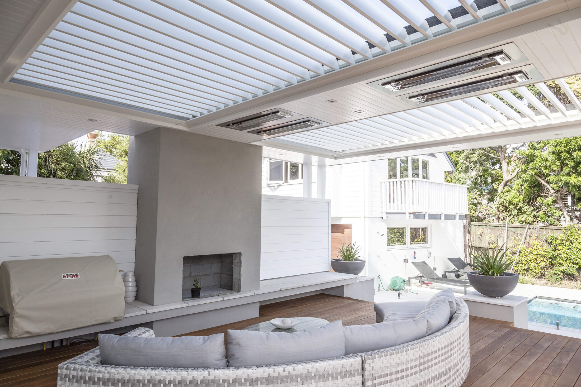 Outdoor blinds, lights and heaters