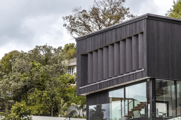 Motorised louvres on the exterior of a home