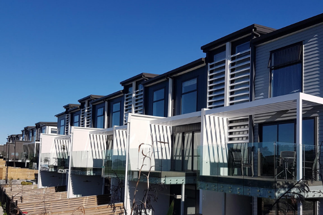 Unique design elements and louvres on town houses