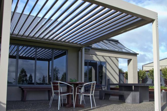 Opening louvre roof pergola