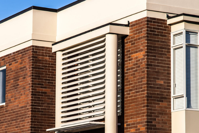 Aluminium louvre blades on the exterior of a home