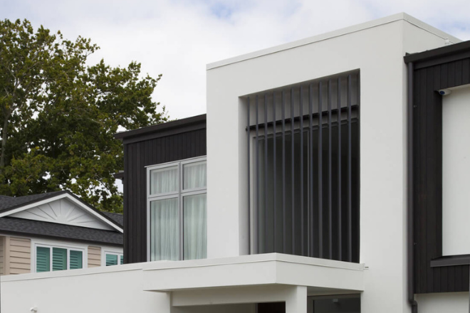 Fixed louvre panels used to add an architectural statement